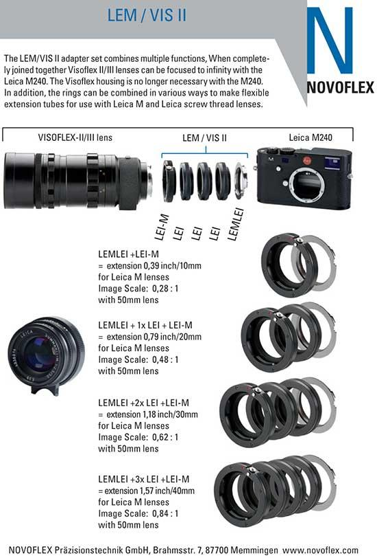 NovoflexLEMVISIIadapterset 1 - Adaptador Novflex LEM/VISII: objetivos Visoflex y anillo macro para la Leica M (#240)